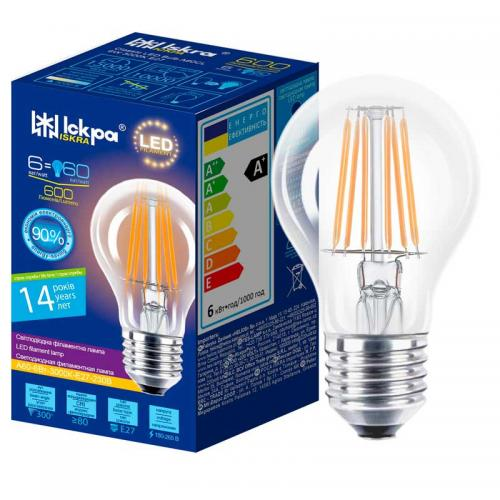 Лампа led filament A60 CL 6W E27 Iskra