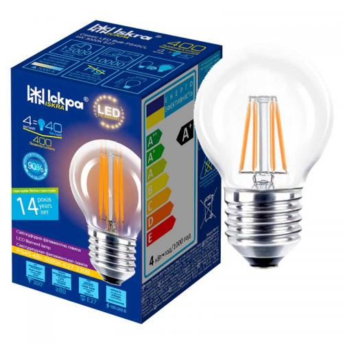 Лампа led filament PS45 CL 4W E27 Iskra
