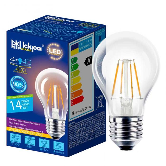 Лампа led filament A55 CL 4W E27 Iskra