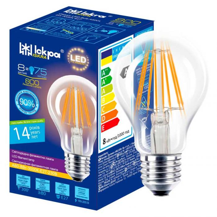 Лампа led filament A60 CL 8W E27 Iskra