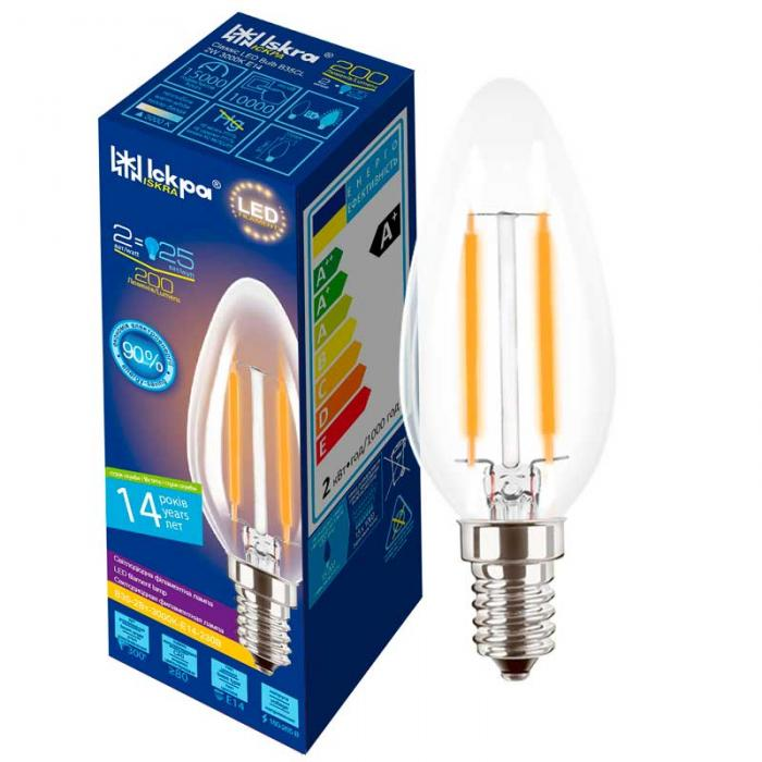 Лампа led filament B35 CL 2W E14 Iskra
