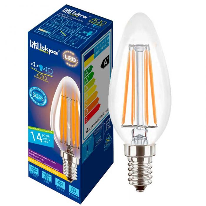 Лампа led filament B35 CL 4W E14 Iskra